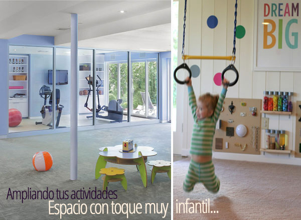 Reforma combinando el gimnasio con una zona infantil.
