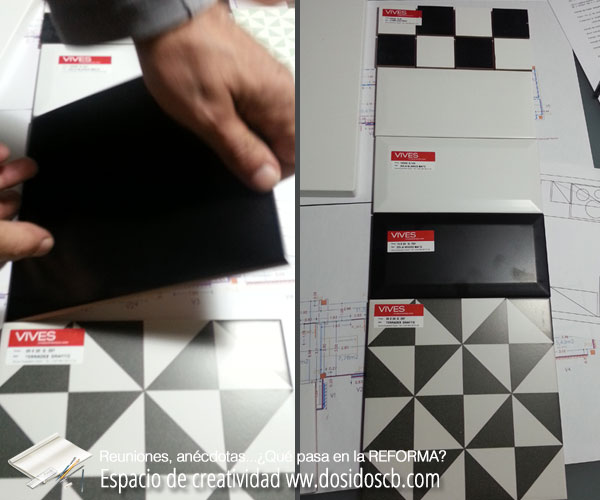 elección azulejos metro biselados 10x20cm blanco o negro