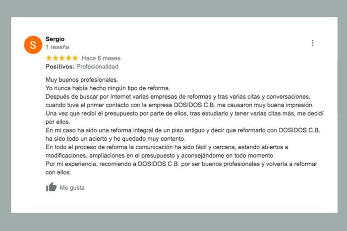 Opinión cliente reforma integral Valencia